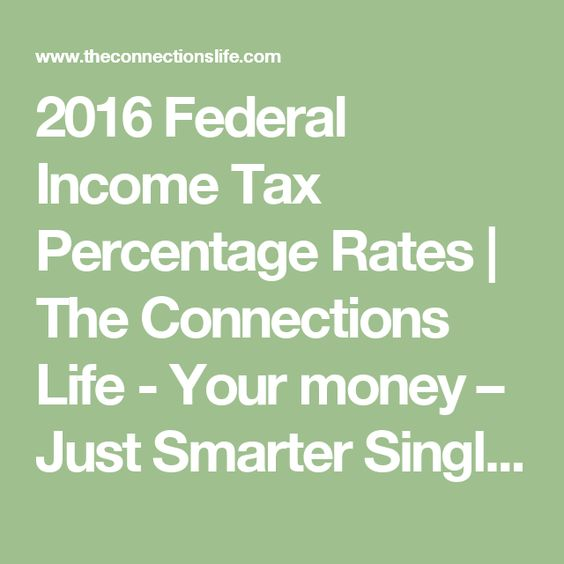 2016 Federal Income Tax Percentage Rates | The Connections Life - Your money – Just Smarter Single - Married - Joint - Head of Household