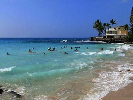White Sands, Disappearing Sands and Magic Sands Beach all refer to this beautiful swim beach in La'aloa Bay, one of the nicest Kona Beaches.