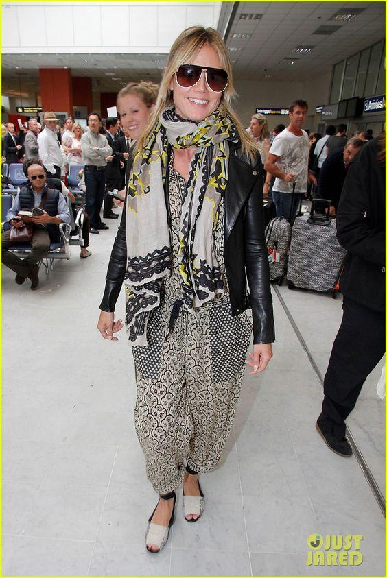 Heidi Klum landing in Nice airport.