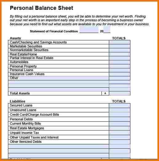 Personal Balance Sheet Balance Sheet Balance Sheet Template Sheet