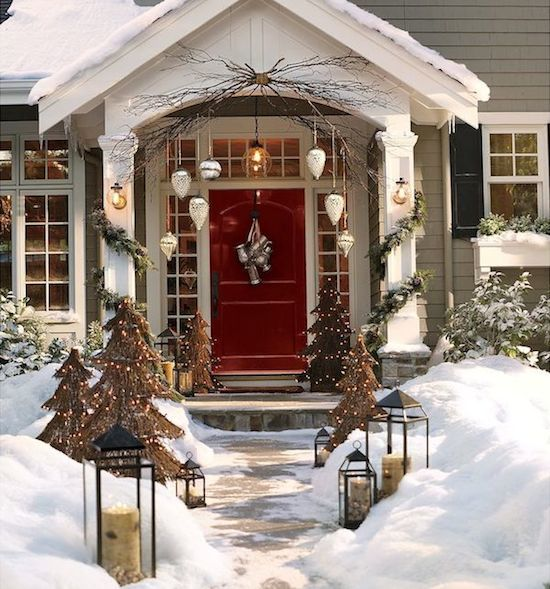 Snowy Landscape | White Christmas | Home Exterior | Holiday Decor | Curb Appeal | Red Front Door