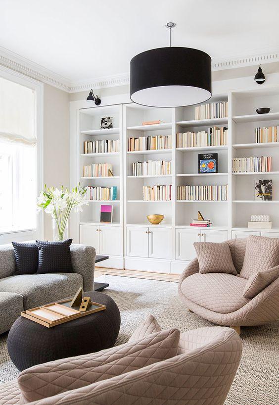 壁一面 本棚 ホワイト インテリア モダン コーディネート例 イメージ