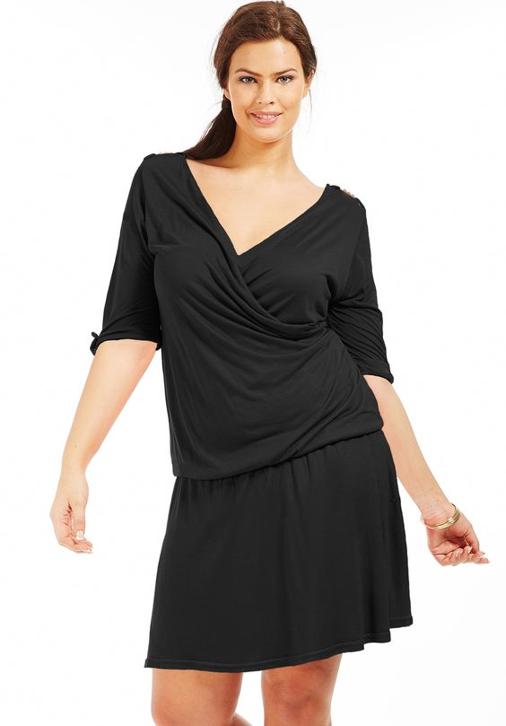 Robe grande taille d collet cache coeur noir robe grande taille scarlett mode grande - Robe d hotesse grande taille ...