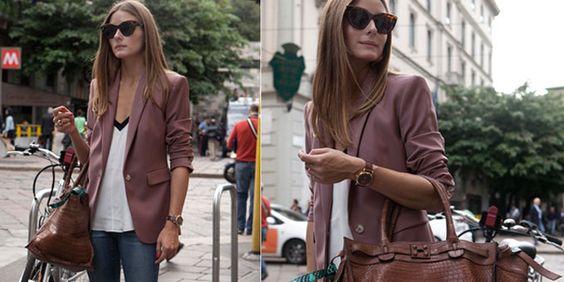 Olivia Palermo Style. Per le vie di Milano la bellissima top model è stata fotografata uno street style impeccabile con tanto di borsa Zagliani.