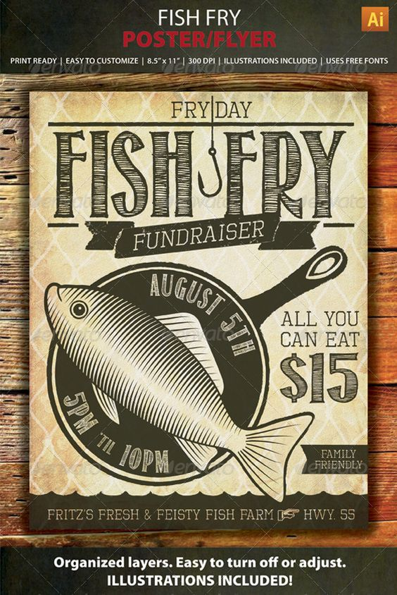 Fish Fry Event \/ Fundraiser Poster, Flyer or Ad Cartelitos - free fundraising flyer templates