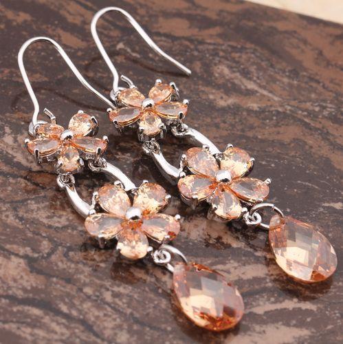 Morganite White Gold Filled earrings