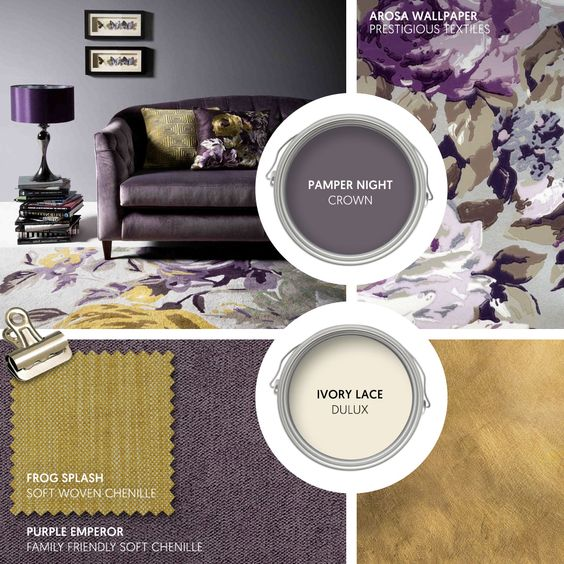 Monday Moodboard - Purple and gold are a deep, decadent match. Pair our Purple Emperor with golden Frog Splash and bold, modern florals... #theloungeco #moodboard #interiormoodboard #paintswatches #wallpaper #interiordesign #lounge #loungedecor #livingroomdecor #purple #purpleandgold #florals