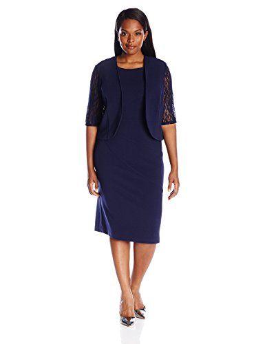 Maya Brooke Women&39s Plus Size Lace Detail Jacket and Dress Set