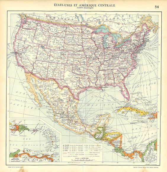 1930s United States Mexico and Central America Vintage Map – Map United States and Mexico