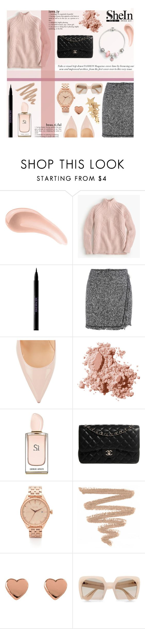 """SheIn Grey Fringe Bodycon Skirt"" by eks02 ❤ liked on Polyvore featuring NARS Cosmetics, J.Crew, Urban Decay, Christian Louboutin, Bobbi Brown Cosmetics, Giorgio Armani, Chanel, Nixon, Ted Baker and Miu Miu"