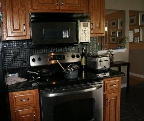 Black Galaxy Granite Kitchen: Tile Backsplash With Black Galaxy Granite Top