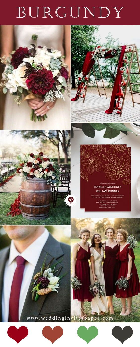 100 Marsala Burgundy Color Combos For 2019 Fall Weddings Burgundy Wedding Colors Wedding Theme Colors Fall Wedding Colors