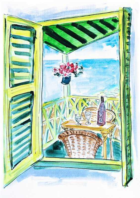 Original acrylic painting green window. Seaview painting. Ocean art. Drawing balcony with flowers. Wine art. Green painting. Wall art sea