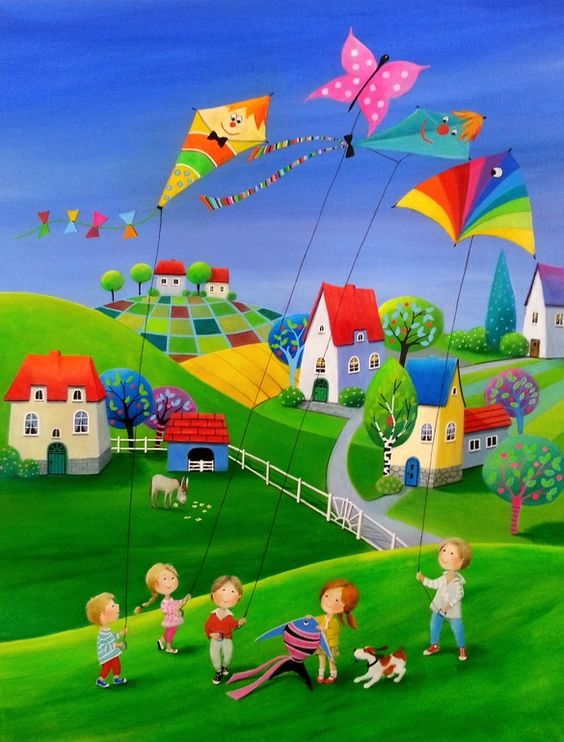 "Saatchi Art Artist: Iwona Lifsches; Acrylic 2013 Painting ""Ulla's Kiting Day"" SOLD"":"