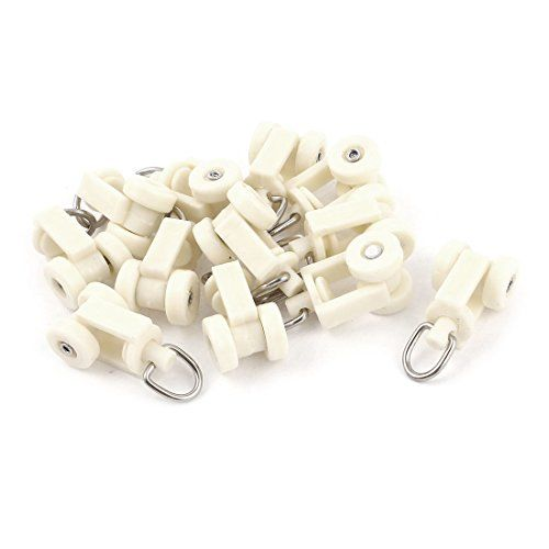Okslo White Plastic Curtain Track Rail Rollers 12mm Diameter Wheel