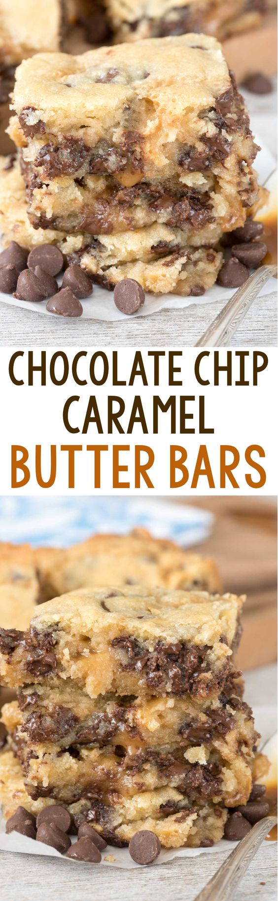 Chocolate Chip Caramel Butter Bars - easy sugar cookie bars filled with chocolate chips and sandwiched with gooey caramel sauce! These gooey bars are SO addicting.: