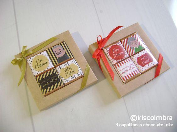 Caixa de 4 Napolitanas personalizadas. Chocolate de leite