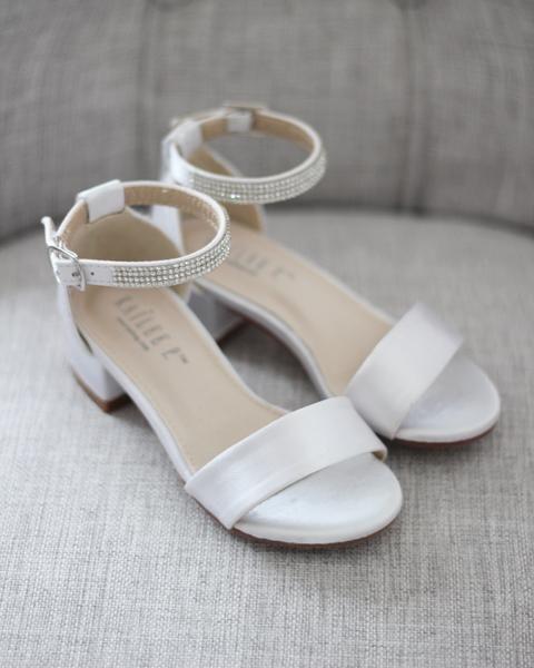 WHITE SATIN Block Heel Sandals with