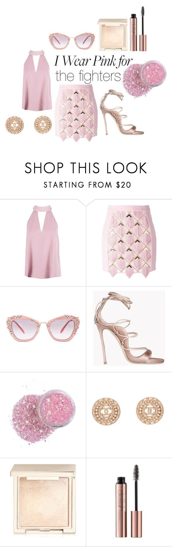"""i wear pink for"" by harrietbuick ❤ liked on Polyvore featuring Boohoo, Balmain, Miu Miu, Dsquared2, Chanel, Jouer and IWearPinkFor"