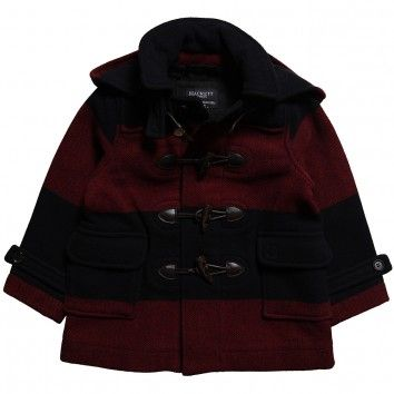 Hackett London Boys Navy Blue & Red Wool Blend Duffle Coat at