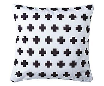 Kissenhülle Heavy Cross, weiß/schwarz, 45 x 45 cm