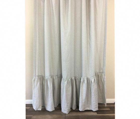 Light Gray Linen Shower Curtain With Long Ruffles