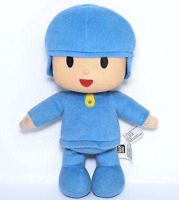 """Bandai Pocoyo Boy 10"""" Plush Doll Blue Outfit Vinyl Plastic Head Soft Stuffed Toy"""