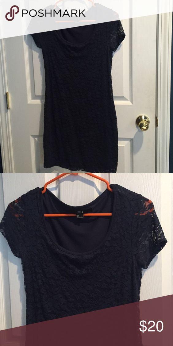 Forever 21 dress Dark Blue floral print dress - laced short sleeves - never worn before Forever 21 Dresses