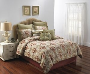 $300 Hallmart Monica 9 Pc Comforter Set... (change out green sided/ design in middle pillow cases. Replace with burgundy/brown/tan, or the same as the green Euro shams)
