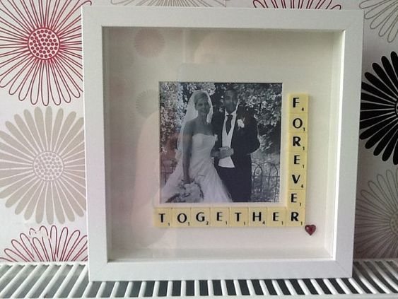 Customised photo frames using scrabble tiles x on Etsy, $30.51 AUD