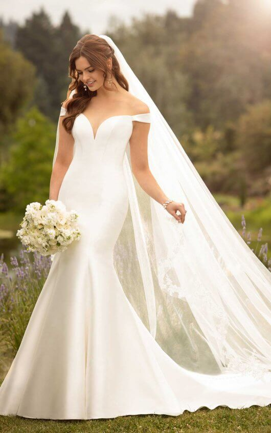 Simple Off The Shoulder Wedding Gown Essense Of Australia Wedding Dresses Wedding Dresses Lace Wedding Dresses Simple