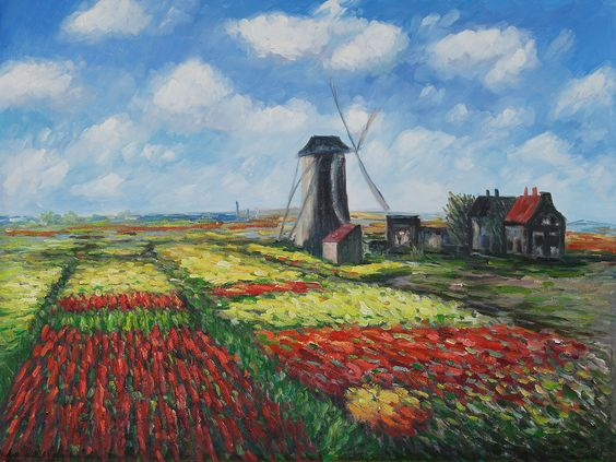 Claude Monet - Tulip Field with the Rinjnsburg Windmill