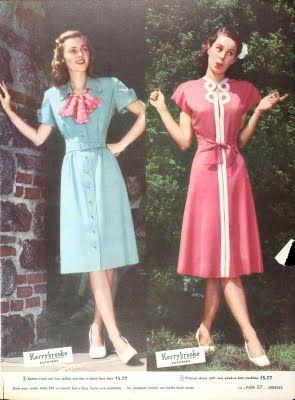 pink and blue vintage dresses