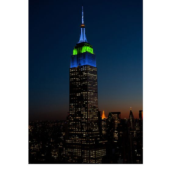 April 13, 2016: The Empire State Building's tower lights glow in green, blue and gold to honor the 50th anniversary of @riverkeeper, an organization fighting for the health of New York's waterways since 1966.