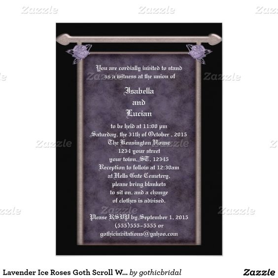 Lavender Ice Roses Goth Scroll Wedding 5x7 Paper Invitation Card by