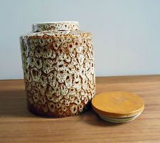 Alte Deckeldose-New Devon England-Keramik-Midcentury-Dose-Holzdeckel-Tabaksdose?