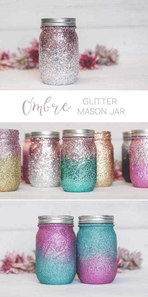 Ombre Glitter Mason Jars Sprinkled And Painted At Ka Styles Co Mason Jar Crafts Diy Diy Jar Crafts Mason Jar Diy