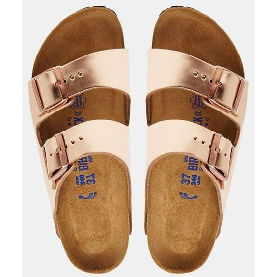 birkenstock arizona metallic copper slider flat sandals