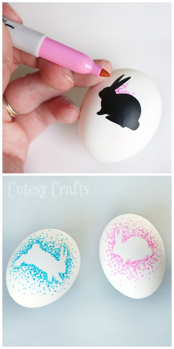 Sharpie Easter Eggs, this would take so much time, but might actually keep the kids busy for a while. As long as they don't get bored & give up!: