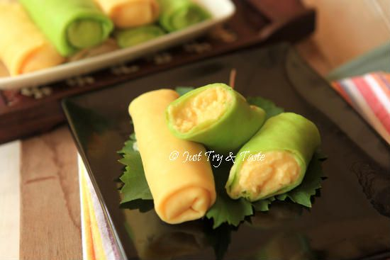 Resep Dadar Gulung Pandan Vanilla Isi Cream Custard Resep Makanan Penutup Resep Makanan