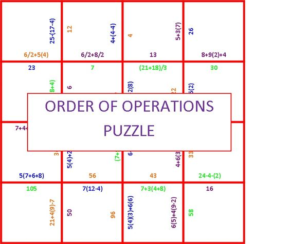Order Of Operation Puzzle Algebra Student And Hands
