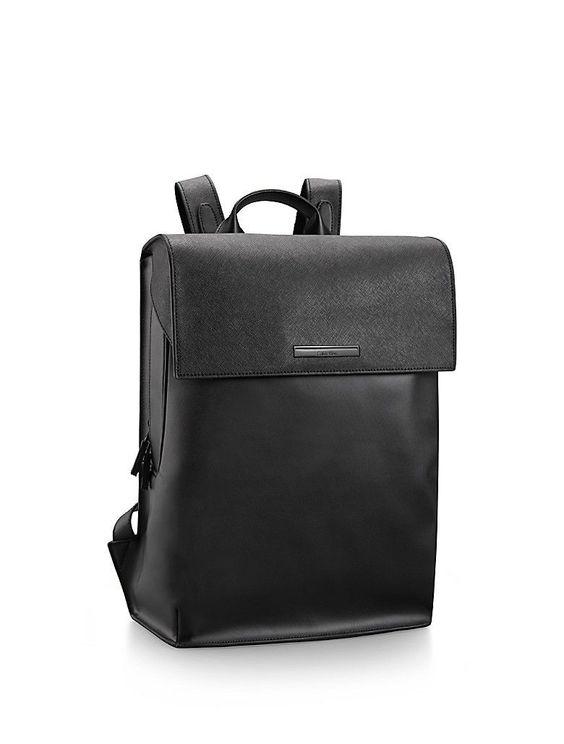 calvin klein mens kiernan leather backpack black leather. Black Bedroom Furniture Sets. Home Design Ideas