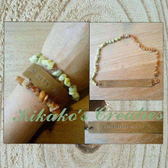 Armband gemaakt met leer, halfedelsteen en koper. #armband #sieraden #handgemaakt #bracelet #jewelry #handmade #halfedelsteen #gemstone #jade #aventurijn #boho #leer #leather #ibizastyle www.facebook.nl/kikakoscreaties