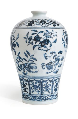 Blue and white 'fruit sprays' meiping, Ming dynasty, Yongle period, from the Meiyintang Collection Sotheby's Hong Kong, 5th October 2011, lot 11