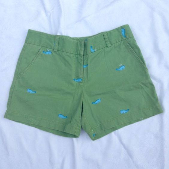 "[J. Crew] Green Whale Shorts Low Fit 6 Fun chino shorts featuring whale embroidery. Style is ""low fit"".  Color: Green & Blue Fabric: 100% Cotton Size: 6 Waist: 16"" Inseam: 5"" Condition: Good. Slightly ""faded"" look to chino. Only flaw is small worn spot on front right hem. Shown in last pic. It is from a whale embroidered on the reverse side.  No Trades! No PayPal! Open to Offers! J. Crew Shorts"