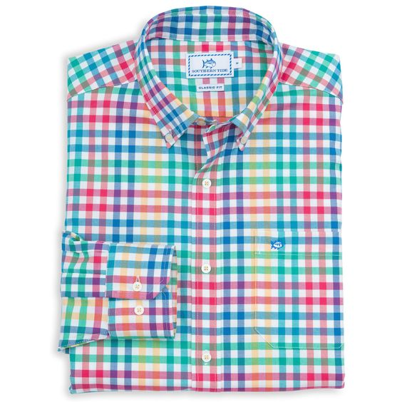 A-List Check Sport Shirt in Fire by Southern Tide #$50-to-$100