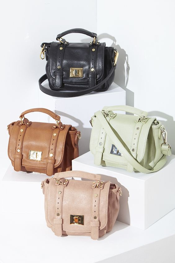 Mini messenger crossbody bags with top handles and metal hardware