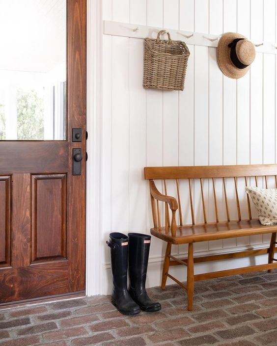 (Basket on hook, daily mail? Plus a bench underneath! ) Recreating the Look of an Old Farmhouse in Kansas - Hooked on Houses