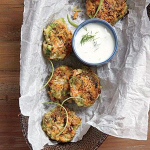 Crispy Broccoli-Carrot Fritters with Yogurt-Dill Sauce | MyRecipes.com