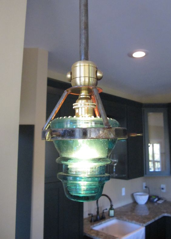 Insulator lights telephone and light fixtures on pinterest for Glass insulator ideas
